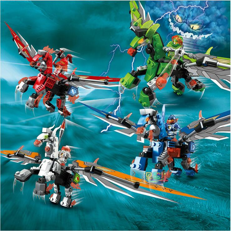 4-in-1 Ninjagoes Dragon Knight Building Block Action Figures Educational Brick Toys For Children Boy Birthday Gift 12pcs set children kids toys gift mini figures toys little pet animal cat dog lps action figures