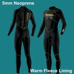 5 мм Гидрокостюмы Премиум неопрен мокрый костюм всего тела с теплой флисовой подкладкой для дайвинга, Сноркелинга, серфинга мужчин/женщин (5 ...