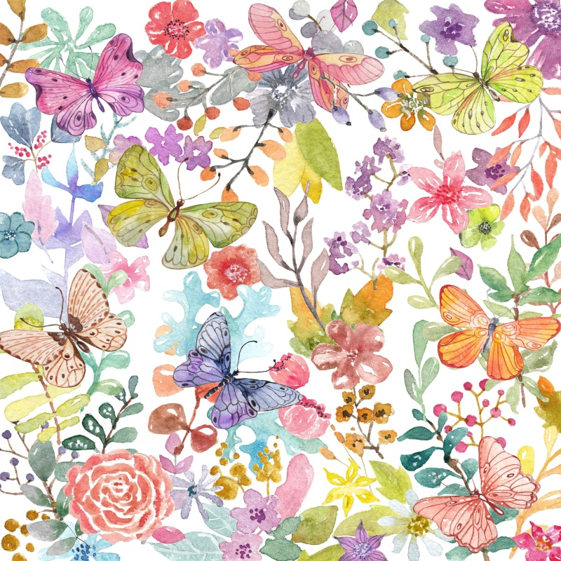 Laeacco Flowers Butterflies Green Leaves Drawing Photography Backgrounds Customized Photographic Backdrops for Photo Studio