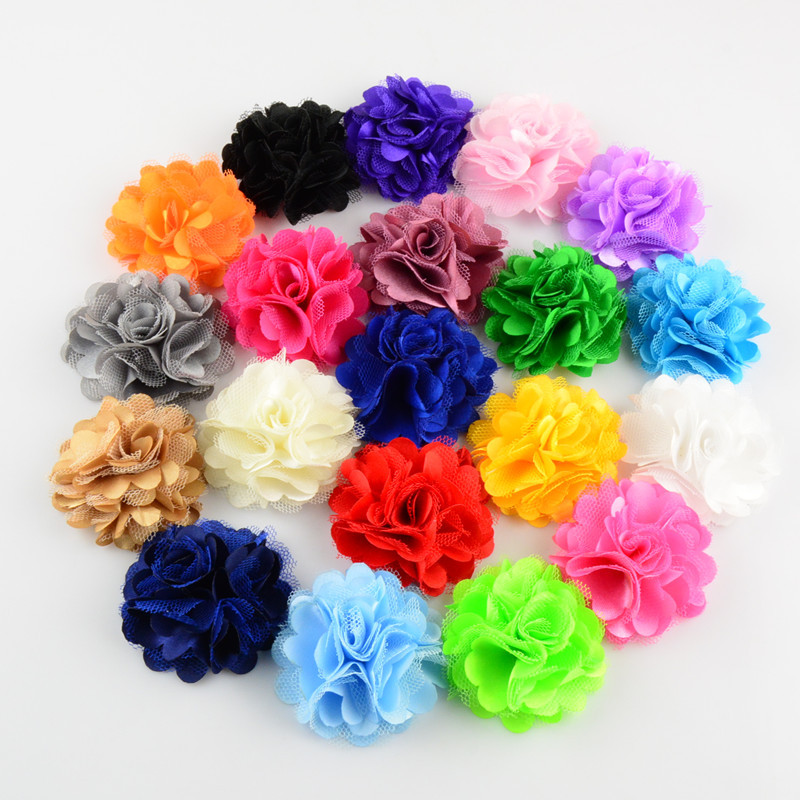 300 pcs lot Satin Mesh Flowers 2 inch For DIY Supplies Headbands Hair Accessories