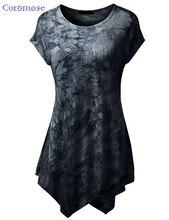 Summer Top t-shirt Women Print tshirt Short Sleeve O-Neck Tie-Dye Long Tunic Top Irregular Hem T-shirt Loose Feamel Tops NTX015
