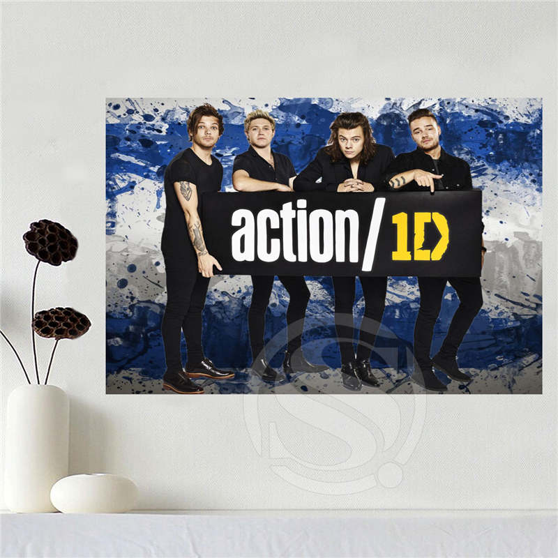 Custom canvas one direction poster home decoration cloth fabric wall poster print Silk Fabric Print Free Shipping SQ0619-2346