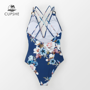 Image 2 - CUPSHE כחול פרחוני רצועות בגד ים מקשה אחת נשים סקסי חוצה Monokini בגדי ים 2020 ילדה חוף רחצה חליפות