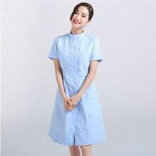 4aafc508ec1 2018 new short Sleeve Stand collar women Medical Coat Uniform Medical Lab  Coat Hospital Doctor Slim