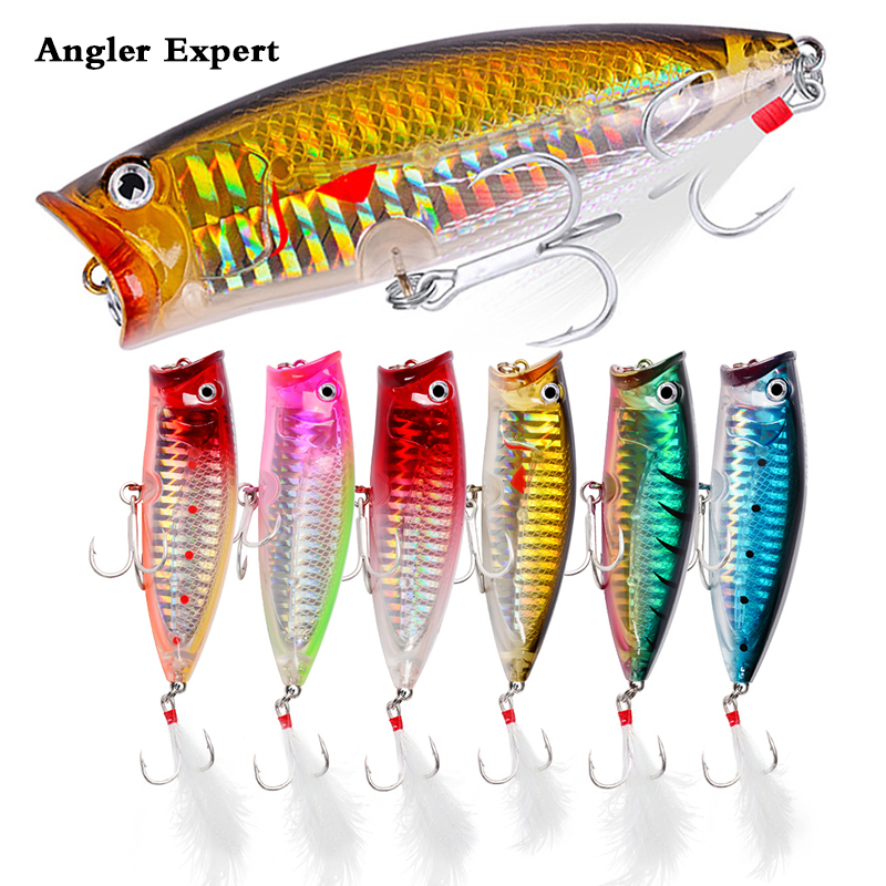 6PCS 7.5cm 19g Popper Fishing Lure Artificial Hard Bait Multicolor Crankbait Floating Twitching Wobblers High Qulity Accessories