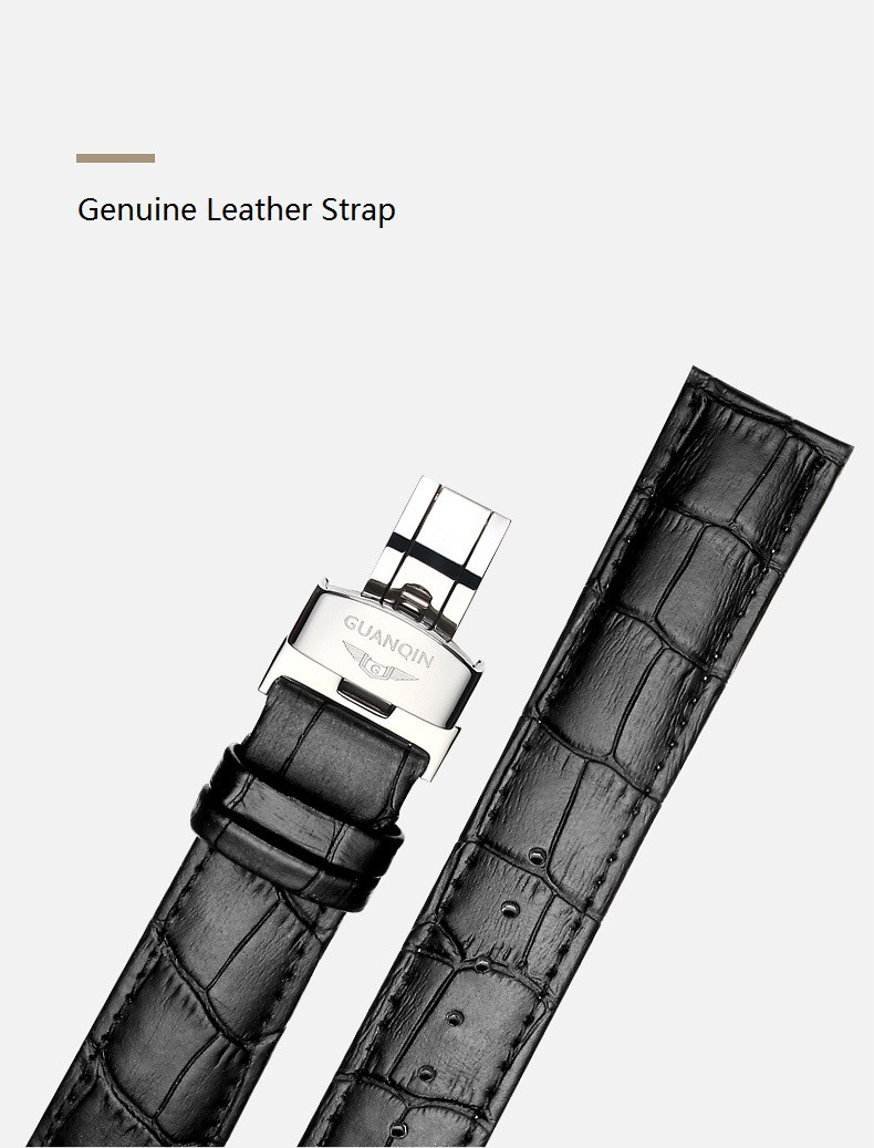 GUANQIN Luminous Men Watch Automatic Mechanical Tungsten Steel Watches Date Calendar Japanese Movement Watch with Leather Strap (9)