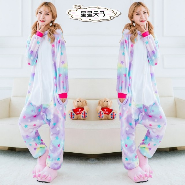 Kids Adult Unicorn Pajamas Child Unicorn Onesies Animal Pajamas Pikachu Stitch Tiger Panda Dinosaur Cow Frog KT Totoro Pajamas
