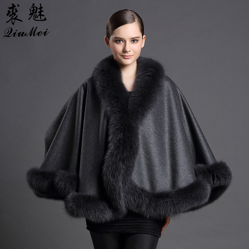 Genuine Cashmere Shawls Fox Fur Female Free Size Fashion Real Fur Ponchos Women's Capes Luxury Brand Winter Shawls and Scarves