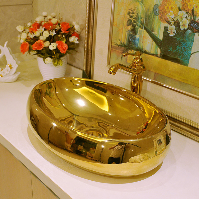Gold Oval Shape Europe Vintage Style Art Wash Basin Ceramic Counter Top Bathroom Sinks
