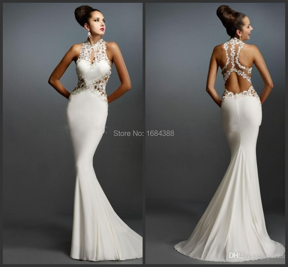 Aliexpress.com : Buy Mermaid White Prom Dresses Halter Sleeveless ...