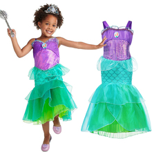 лучшая цена Fancy Little Mermaid Dress for Girl Kids Princess Costume Summer Party Birthday Clothing Child Carnival Gown Cosplay Ariel Dress