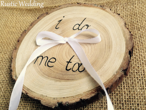 Wooden Ring Bearer Pillow Alternative Wood Wedding Holder Natural Rustic Slice In Party Diy Decorations