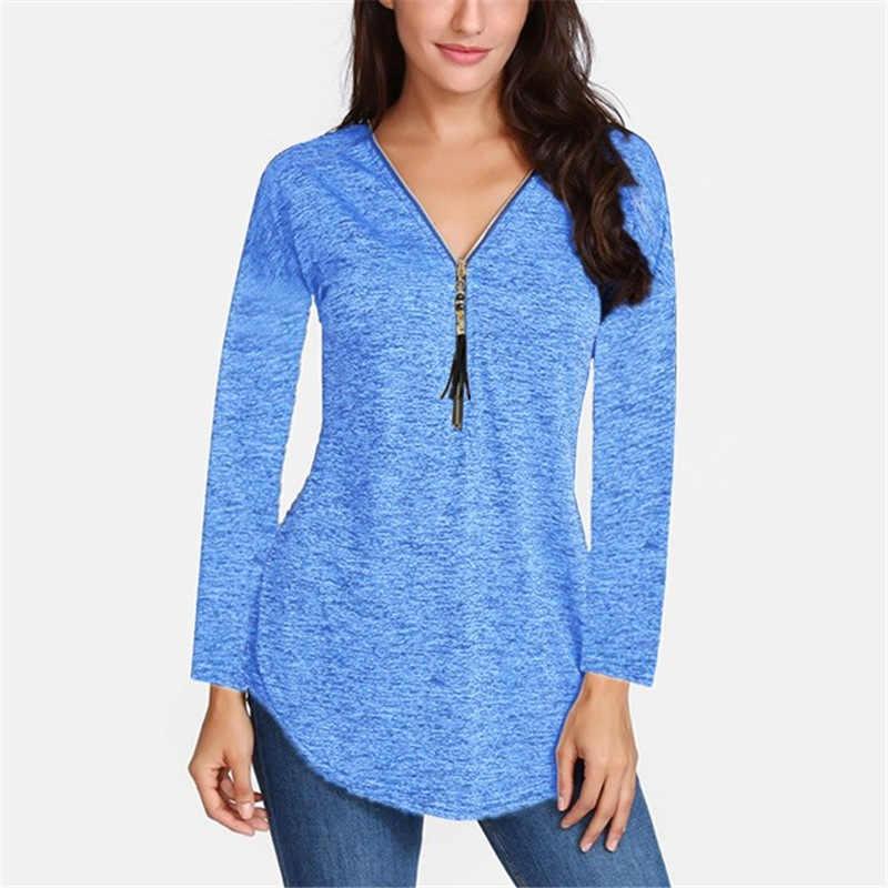 2019 Новое поступление Женская мода весна осень длинный рукав v-образный вырез сплошная свободная длинная футболка женский топ плюс размер