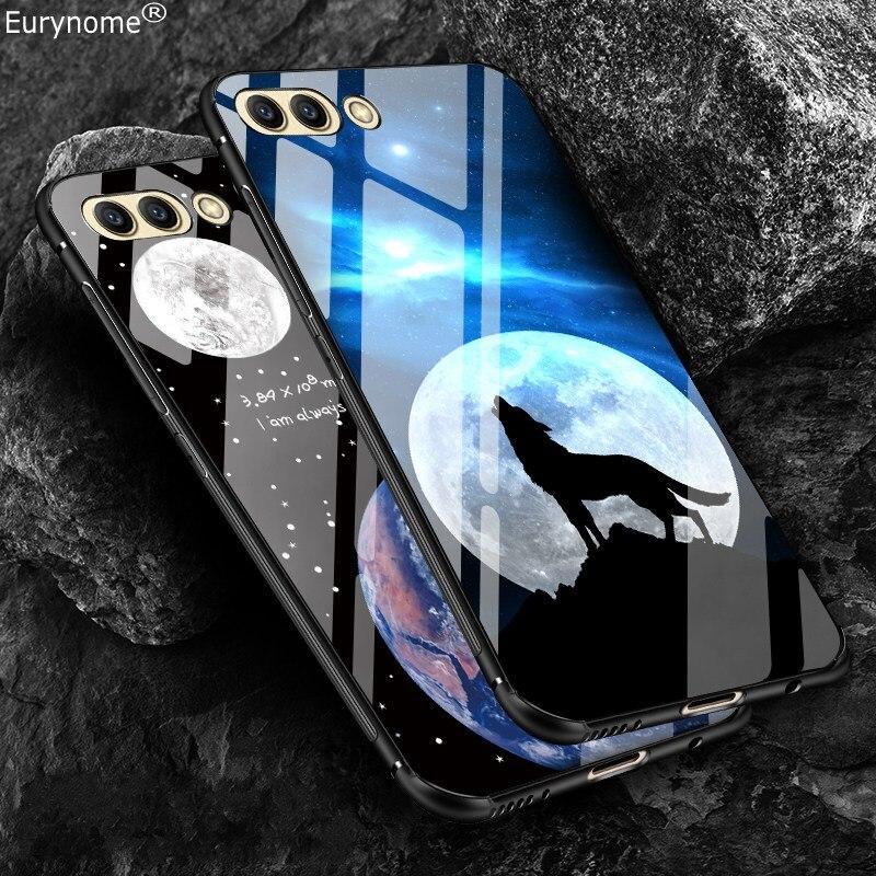 Vidrio Templado funda para Huawei Honor V10 Nova 3 Anti-skid lobo de dibujos animados para Huawei 10 honor 9 Nova 3 V10 caso