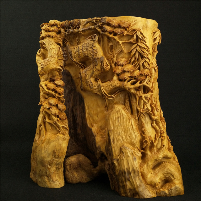 Yueqing boxwood carvings characteristic pen holder tree
