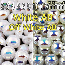 Off White Beige AB & White AB Half Round Flat back Pearl beads mix sizes 2 3 4 5 6 8 10mm ABS imitation pearls for DIY Nail Art(China)
