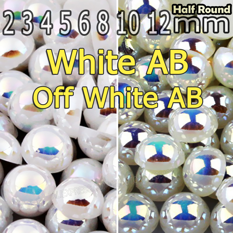 Off White Beige AB & White AB Half Round Flat back Pearl beads mix sizes 2 3 4 5 6 8 10mm ABS imitation pearls for DIY Nail Art