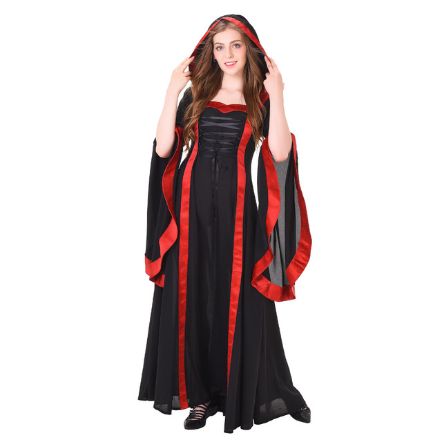7977a65a8a4 Medieval Dress Women Hooded Medieval Renaissance Wedding Dress Ball Gown  Gothic Victorian Dress Halloween Cosplay Costume