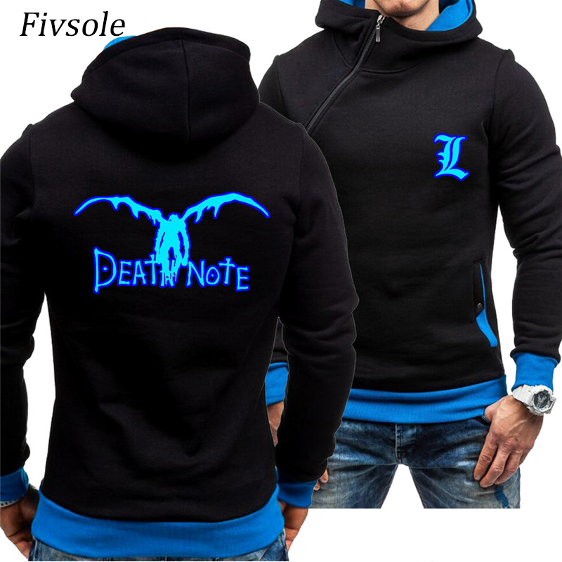 Fivsole Anime Death Note Blue Luminous Glowing Hoodies Men Diagonal zip up Jackets Man Casual Sportswear Spring Fall Cardigan