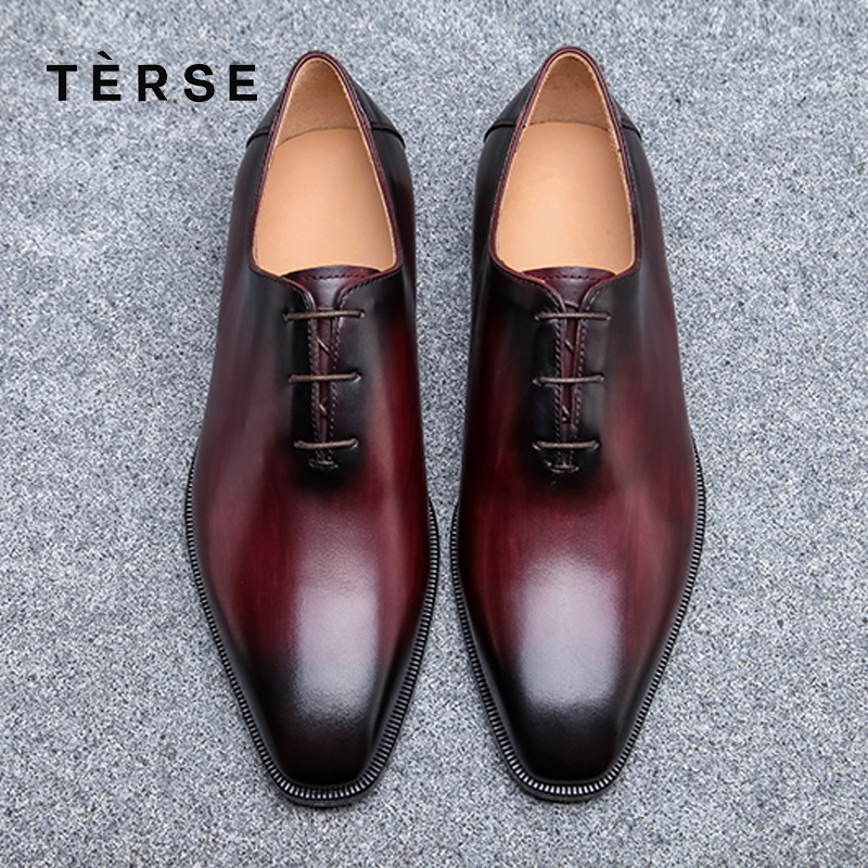 TERSE NEW Dressing Shoes Luxury Men genuine Leather Shoes Fashion Flats oxfords Business Casual Shoes Lace-Up shoes 15770-2 terse new men s shoes handmade genuine leather dress casual shoes with tassel fashion luxury shoes high quality 2 color 15770 20