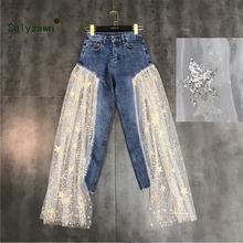 Dżinsy damskie wysokiej talii dżinsy z szeroką nogawką damskie spodnie dżinsowe nieregularne siatkowe Tansparent cekin gwiazdowy letnie dżinsy damskie spodnie jeansowe tanie tanio Kobiety Poliester Pełnej długości Streetwear Luźne Suknem Zipper fly Hollow out Koronki Kieszenie Wzór Łączone Stałe