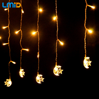LMID 4 M * 0.6 M Brilho Da Estrela Da Lua Fada Seqüência Das luzes de Natal Decoração Guirlanda guirlanda LED Festa Do Casamento Do Feriado iluminação Para Casa