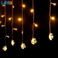 LMID 4 M * 0.6 M Twinkle Lune Étoiles Cordes guirlandes De Noël Guirlande Décoration Guirlande LED De Noce de Vacances éclairage À La Maison