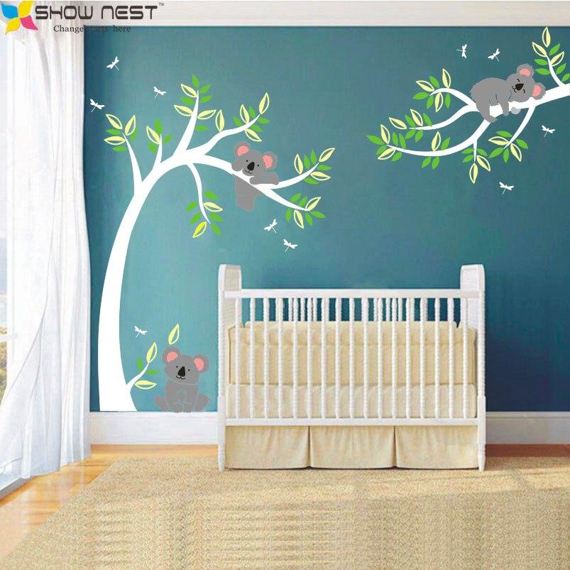 Koala Et Branche Sticker Mural Koala Arbre Sticker Mural Avec Libellules Koala Ours Sticker Mural pour la chambre de Bébé, enfants, Enfants Chambre