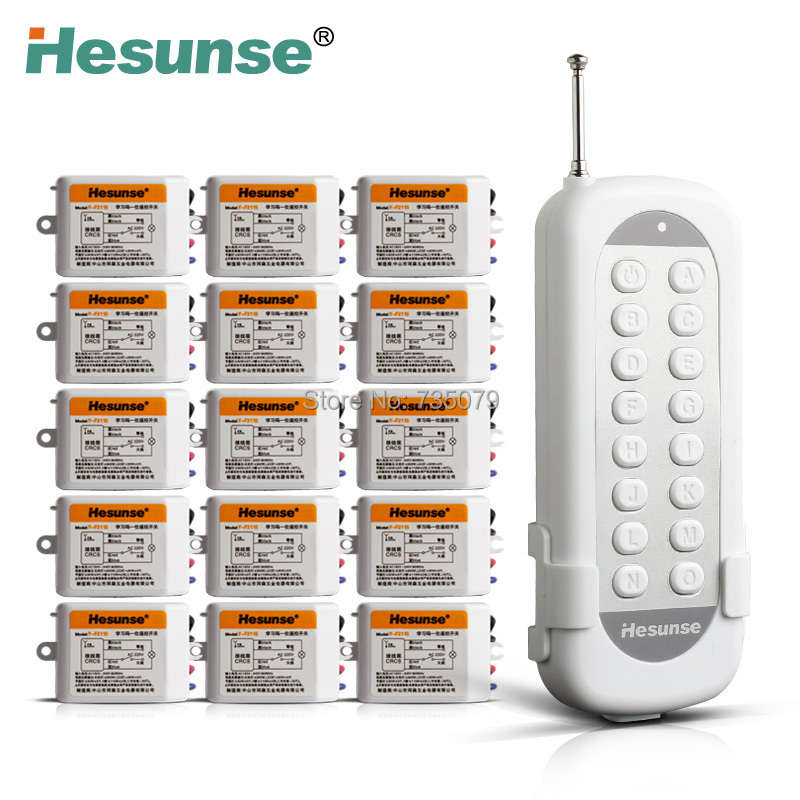 Y-F211B1N15 Flexible 15Ch Disconnect RF Wireless Remote Control Switch For Light Learning Code 220V 110V