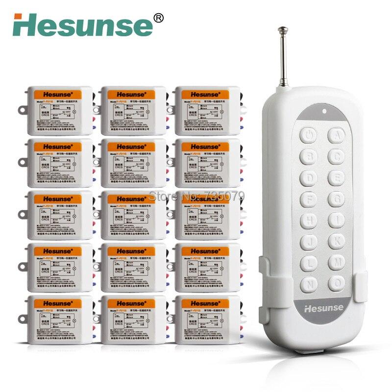 Y-F211B1N15 Flexible 15Ch déconnecter RF sans fil télécommande interrupteur pour lumière apprentissage Code 220 V 110 V