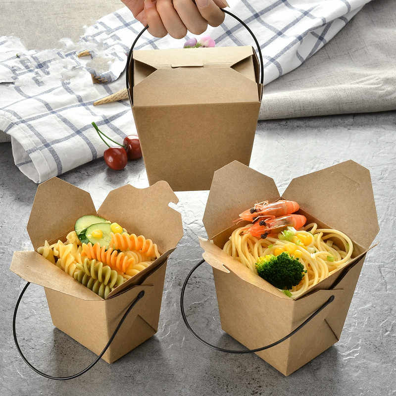 50pcs Kraft paper carton lunch snack furit salad box disposable fast food pasta takeaway packaging box with black plastic handle