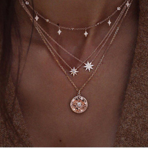 Female Necklace Vintage Astrolabe Crystal Pendant Multi-layer Geometric Clavicle Chain Gold Long Necklace Set Girl Beach Party(China)