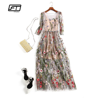 Fitaylor New Spring Autumn Women Elegant Party Dress Gorgeous Half Sleeves O Neck Sheer Mesh Embroidery