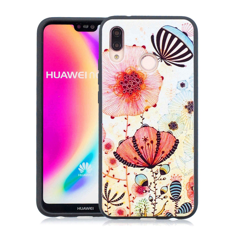 Ốp Lưng Điện Thoại Huawei P20 Lite Coque Mềm TPU Tối Cứu Trợ Hoa Văn Hoa Vỏ Cho Huawei P20 Lite Fundas Nhiều Màu Sắc bao Da