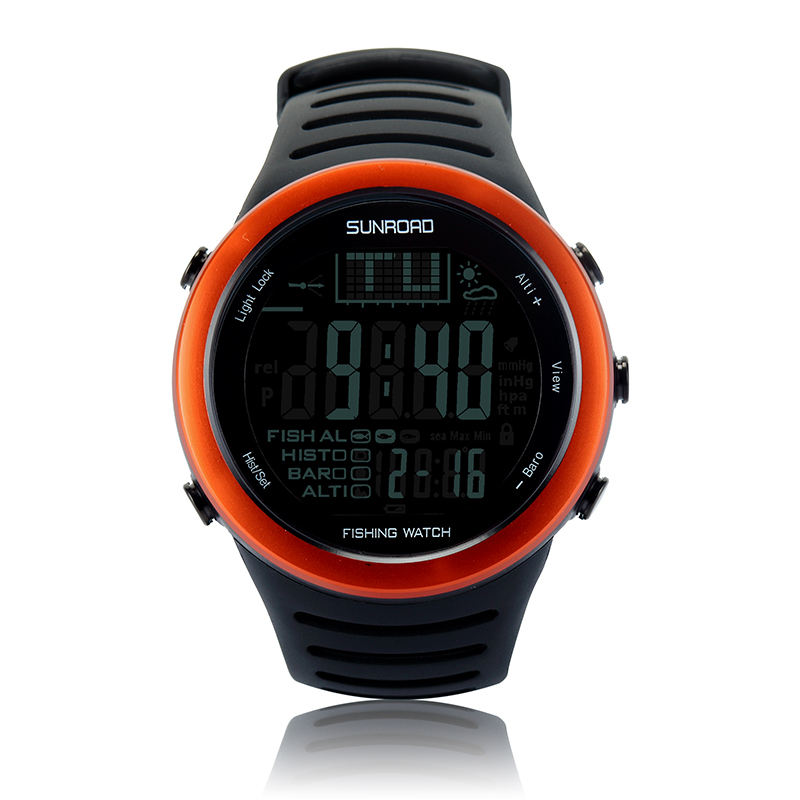 SUNROAD Sports Outdoor Watch Men  Digital Fishing Gear Barometer 5ATM Waterproof Weather Compass Altimeter Clock (Orange) FR720 8 in 1 digital lcd compass altimeter barometer thermo temperature clock calendar for outdoor hiking fishing
