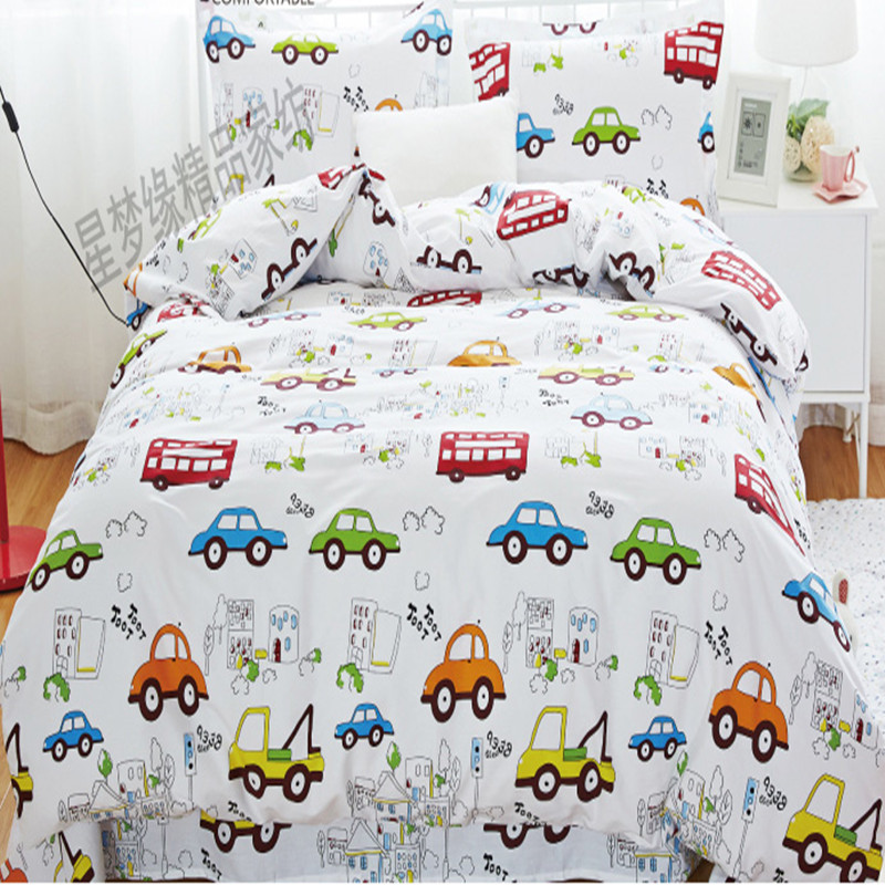 Free shipping 100%cotton kids children bunk bed cartoon anime bedding set trucks cars buses 3pcs twin size sheet, duvet cover