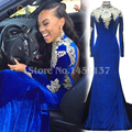 2016 High Neck Evening Dress Gold Appliques Long Sleeves Royal Blue Velour Prom Dresses Luxury Party Gowns Dress LLF-S0519-C