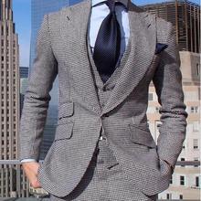 Handsome Groomsmen Wool blend Groom Tuxedos Mens Wedding Dress Man Jacket Blazer