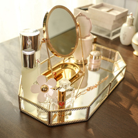 Makeup Organizer Storage Box Europe And America Simple And Modern Model Room Softcover Metal Glass Mirror Vanity Tray Decoration