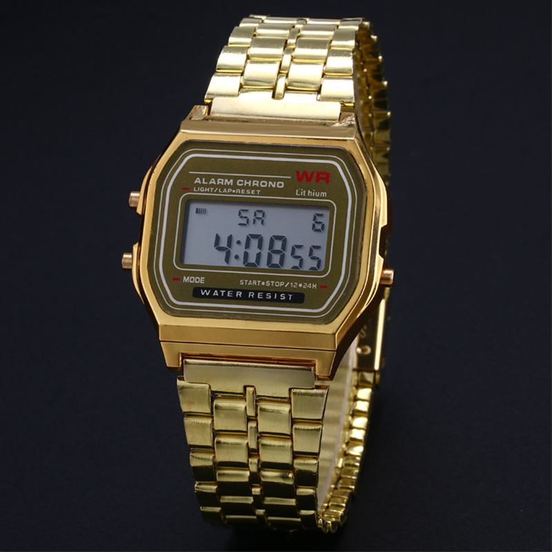 Watch Business Golden Gold Watch Coperation Vintage Womens Men Dress watch Stainless Steel Digital Alarm Stopwatch Wrist Watch(China)
