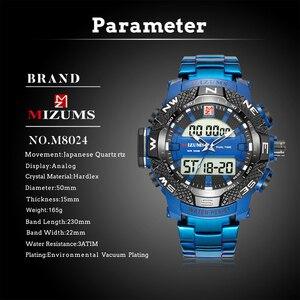 Image 4 - ゴールド腕時計メンズledデジタルスポーツ腕時計男性防水ステンレス鋼バンド高級ブランドmizumsメンズクォーツ腕時計xfcs