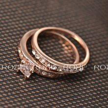 ROXI Ring Set Classic Genuine Austrian Crystal Rings for Women Rose Gold Color Double Ring Wedding Party Jewelry Bagues Femme