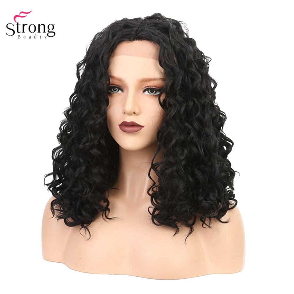 Perruque frontale en dentelle strong beauty pour femmes moyenne vague profonde cheveux noirs perruques en dentelle synthétique Bob
