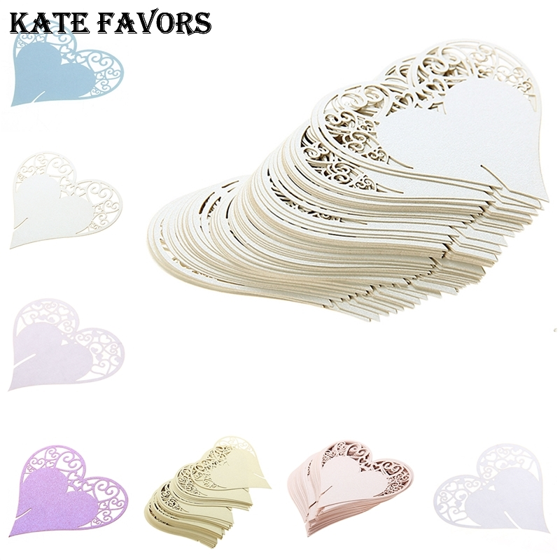 50Pcs Wedding Table Decoration Laser Cut Love Heart Wedding Place Cards For Wine Glass Wedding Party Decoration