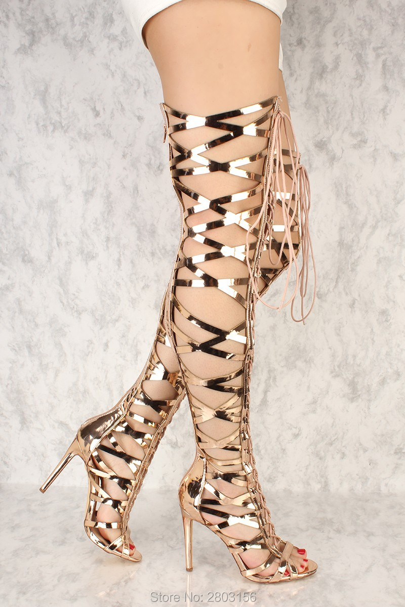 Sexy Women Lace Up Thigh High Boots Peep Toe Cut Outs Strappy Gladiator Summer Boots Over The Knee Boot Shoe sexy black high heels gladiator shoes woman peep toe lace up thigh high boots summer cutouts feminine boot over the knee sandal