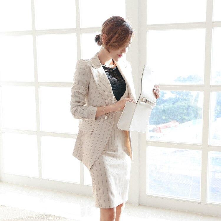 Automne travail officiel femmes tissu Blazer manteau OL rayé genou-longueur crayon moulante sangle robe deux pièces costume robes ensemble