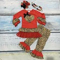 День святого валентина новорожденных девочек Весна экипировка костюм красный леопард сердце любовь топ дети хлопок оборками одежда с соответствующими аксессуарами