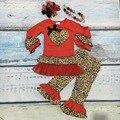 Dia dos namorados do bebê meninas Primavera outfit suit leopard amor do coração vermelho top crianças babados de algodão roupas com acessórios combinando