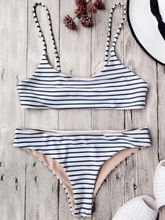 Women Bikini Striped Sexy Color Split Black White Colors