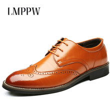 купить Luxury Brand Men Oxford Shoes Fashion Pointed Lace Up Brogue Derby Shoes Business Formal Dress Shoes Black Brown Leather Oxfords по цене 2068.57 рублей